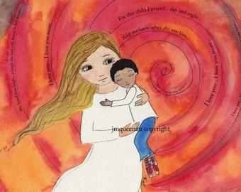 Adoption art print baby boy nursery, boys wall art adoption gift, children art, kids decor, African boy brown hair mom