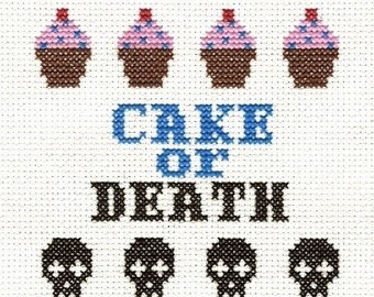 PATTERN - Eddie Izzard - Cake or Death Cross Stitch