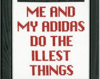 PATTERN RUN DMC  My Adidas Cross Stitch Pattern
