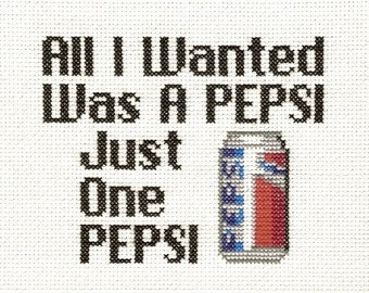 PATTERN - Suicidal Tendencies Pepsi Cross Stitch Pattern