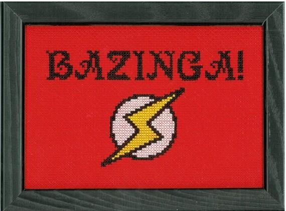 PATTERN - Big Bang Theory - Bazinga Cross Stitch