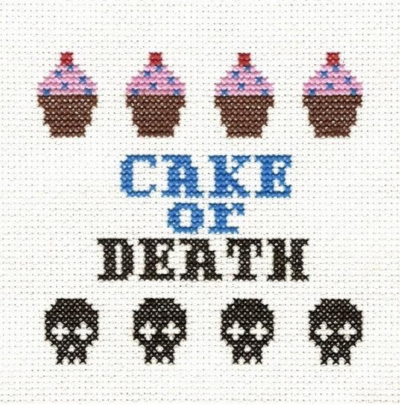 PATTERN - Eddie Izzard - Cake or Death Cross Stitch