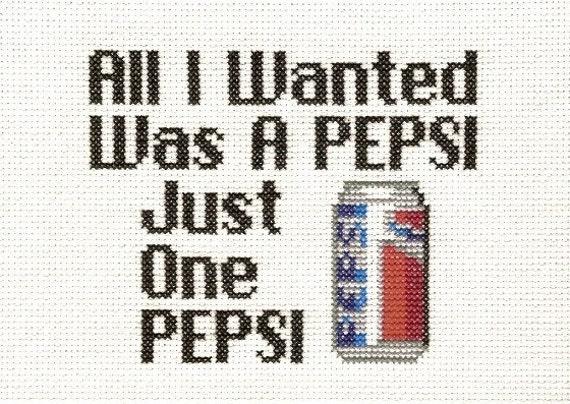 PATTERN - Suicidal Tendencies Pepsi Cross Stitch Pattern