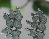 Earrings- Vintage Sterling and Enamel Cactus Earrings - Mexico