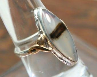 Ring-  Vintage Sterling and 10k Gold Filled Agate Ring