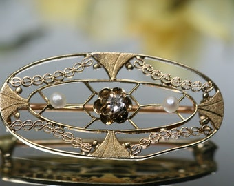 Antique 10k Diamond and Pearl Brooch