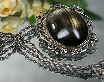 Pendant-Large Vintage Sterling and Glass Pendant/Brooch