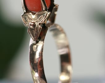 Vintage 10k Gold and Coral Ring
