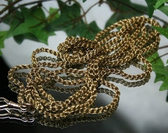 Antique Victorian 10k Yellow Gold Lorgnette/Muff or Watch Chain Necklace