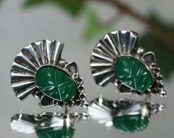 Earrings- Vintage Silver and Glass Earrings-Mexico