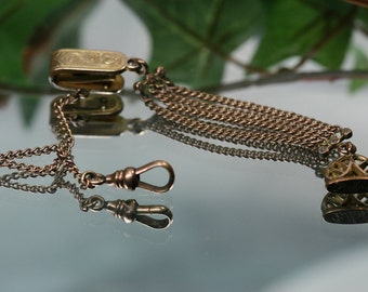 Antique Gold Tone Watch Chain and Fob - Vest chain