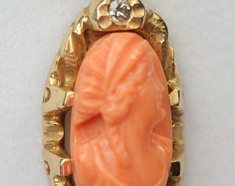 10k YG  Pink Coral Cameo  and Diamond Pendant Necklace- Vintage