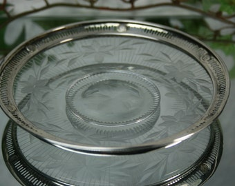 Vintage Glass and Sterling Small Candy Dish- Webster Company