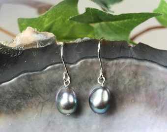 Freshwater Pearl Drop Earrings - Sterling Wires - Wedding