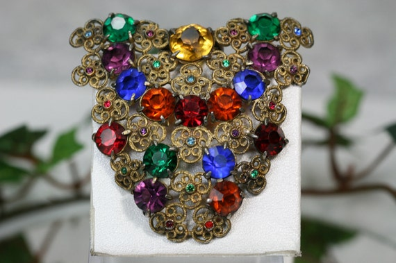 Dress Clip-Vintage Goldtone and Multi-Colored Glass Stone Dress Clip