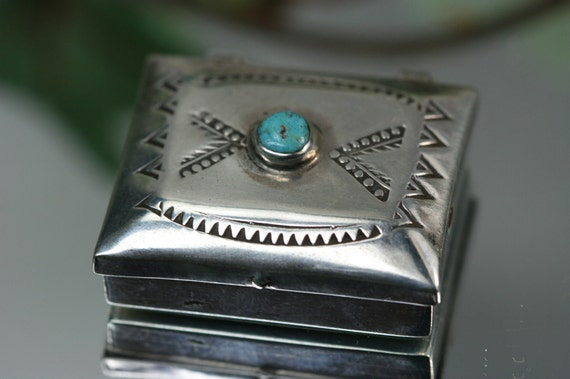Vintage Stering and Turquoise Small Box- Native American Design