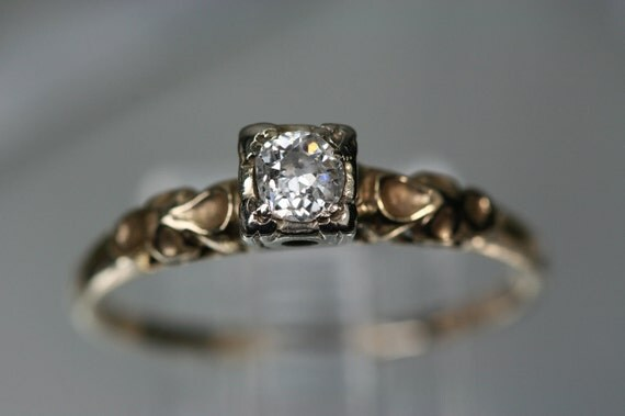Reserved for DirtyCatDesigns  -  Vintage 14k Yellow and White Gold Diamond Ring