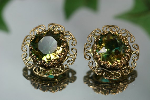 Vintage Goldtone and Green Stone Earrings-W Germany