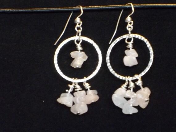 SALE - 25% off Rose Quartz Chandelier Earrings