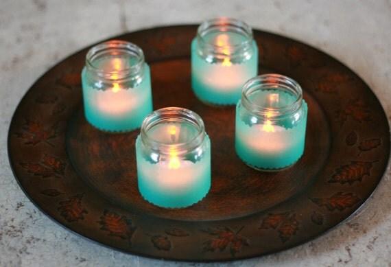 Blue Ocean Upcycled Votive Candle Jar Set