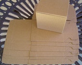 """Kraft Pinstripe Gift Boxes (6)  - 4"""" x 4"""" x 4"""" cube  - Cup Size"""