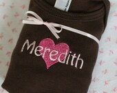 Personalized Infant Shirt - Chocolate Brown American Apparel with Heart Embroidery