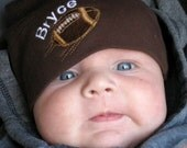 Personalized Vintage Football Hat - Chocolate Brown American Apparel Baby Knot Hat