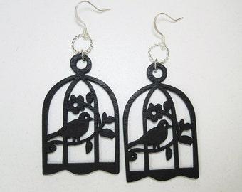 SALE - Bird In A Cage Earrings - Black