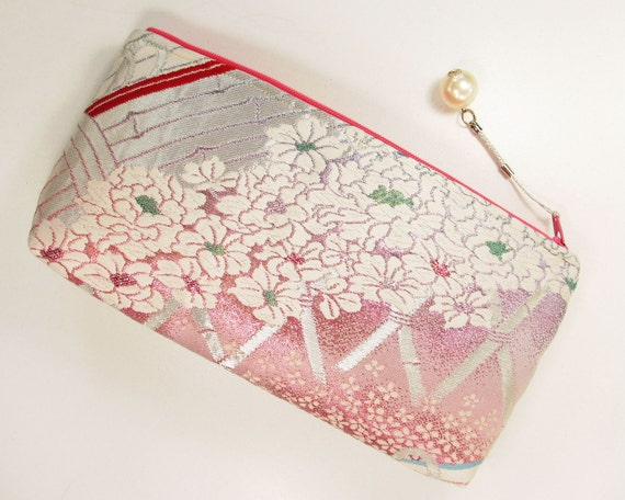 Peony Garden Clutch Bag Made From Vintage Obi