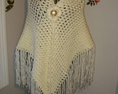 Handmade Crochet Ivory Lace Cover Up Bridal Wedding 3D Shawl Pattern Available just convo me/ SCARF/SHAWL/ Bridal Accessories, All Seasons