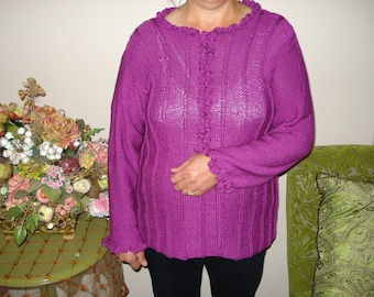 Handmade Knit 100% Rich Purple with Beaded Mulberry Silk Sweater/Jumper - Size S/M/Large - Free Shipping - Ready to ship TODAY