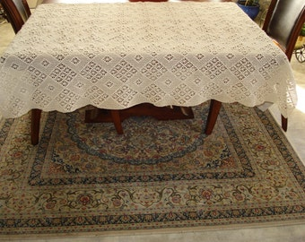 Brand New Handmade Crochet tablecloth-Doily Runner, Long Rectangle, Crochet Lace Bedroom Curtain, Unique Crochet