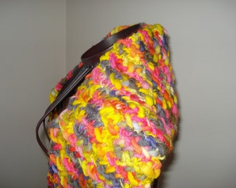 Brand New Fall Into Autumn Handmade Hand knit from Very Soft Bulky Wool Scarf, Ready to be shipped Today