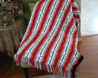 New Ready to be shipped Today, Handmade Crochet Red/White/Black Afghan Throw Over-Blanket, Football Blanket Throw Over- Afghan-Blanket