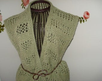 Brand New Handmade Hand Knit Green Vest/Beach cover up /Size: M/L  // Ready to be shipped Today