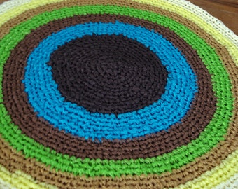 """Ready to be shipped today - Gorgeous one of a kind Handmade CROCHET Rug From RIBBON - Multicolour rug - Floor Rug Round rug - 25"""" diameter"""