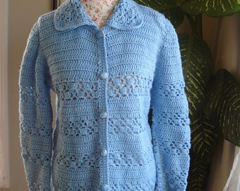 Brand New Gorgeous Handmade crochet Blue Sweater/ Cardigan with buttons // Ready to be shipped Today