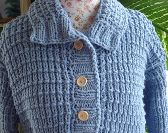 Icy Blue Knit Sweater, Chunky Wool Pullover, Handmade knit with 50/50 Cotton/Wool Icy Blue Aran Sweater/ Iceberg - Ready to ship TODAY