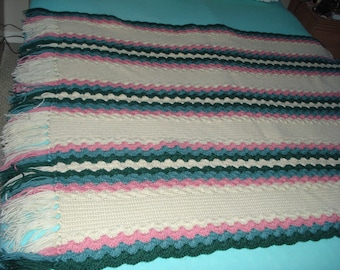 Brand New Ready to be shipped Today, Handmade Crochet Pastel Color Afghan Throw Over-Blanket, Football Blanket