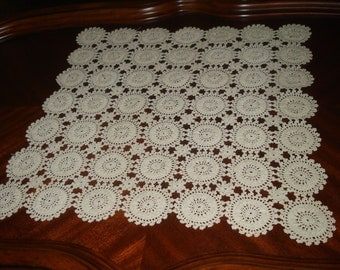 "Brand new Crochet Ivory, Ecru Lace Table Runner, Square Crochet Doily, Square Tablecloth, Crochet Lace Doily, Ready to ship, 20""WX20""L"