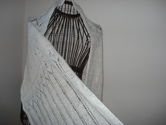 Ready to ship /Gorgeous HANDMADE Hand Knitted Snow White Lace Scarf/SHAWL/STOLE