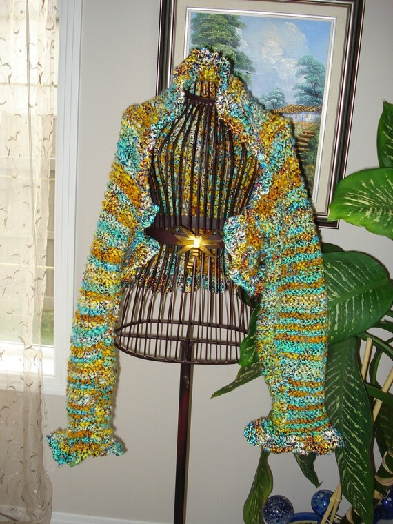 Brand New Women's Hand spun Art yarn Handmade knit Long Sleeve Shrug/Bolero, Will fit Sizes  M-3XL, Ready to ship