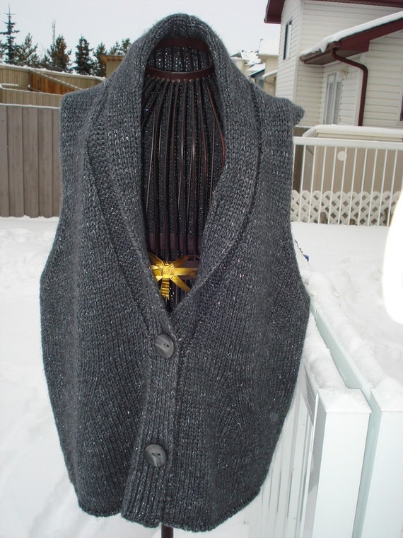 Ready to be shipped /GORGEOUS HANDMADE Hand Knit Sparky Black Vest