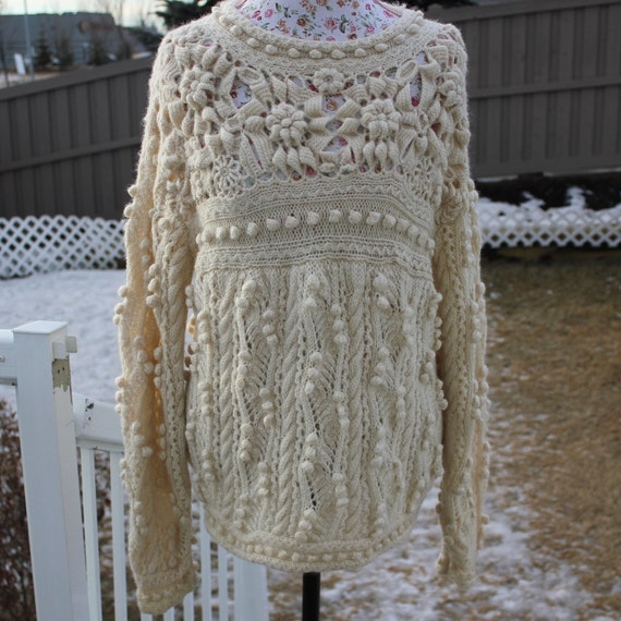 Fisherman Knit Sweater Pattern : Ready to ship /Gorgeous Hand Knitted-HANDMADE Cream aran
