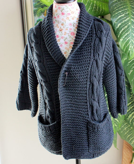 Ready to ship /GORGEOUS Hand Knitted-HANDMADE Black Guernsey aran fisherman Cardigan for women or men/UNISEX
