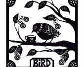 BiRD - 8 X 8 inch Cut Paper Art Print
