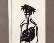 Bird in a Bottle - Small Greeting Card