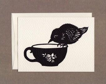 Tea Cup Bird - Notecard