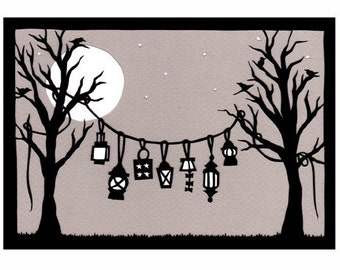 Lanterns - 5 x 7 inch Cut Paper Art Print