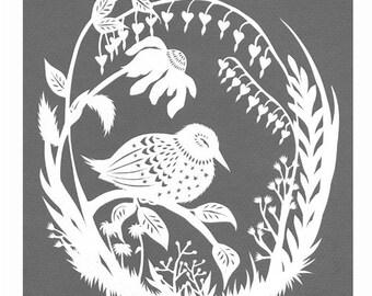 Night Bird Rests - 8 X 10 inch Cut Paper Art Print